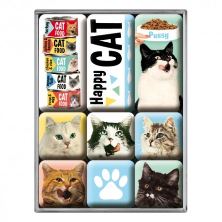 Retro Art Magnesy Happy Cats 9szt