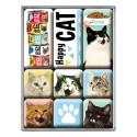 RETRO Magnesy Happy Cats 9szt