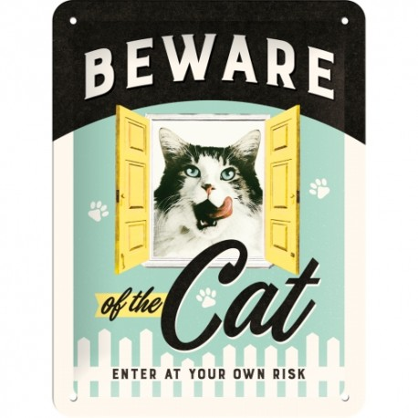 Retro Art Plakat Beware of the Cat 15 x 20cm