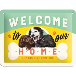Retro Art Plakat Welcome Puppies 15 x 20cm