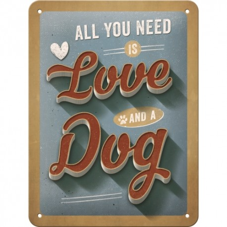 Retro Art Plakat PfotenSchild - Love Dog 15 x 20cm