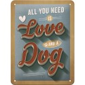 RETRO Plakat PfotenSchild - Love Dog 15 x 20cm