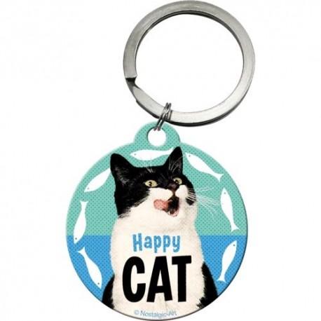 RETRO Brelok do kluczy Happy Cat