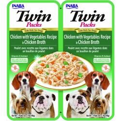 INABA TWIN PACK DOG - DWUPAK saszetek dla psa Kurczak Warzywa 2x40g