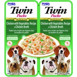 INABA TWIN PACKS DOG - DWUPAK saszetek dla psa Kurczak Warzywa 2x40g