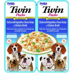 INABA TWIN PACKS DOG - DWUPAK saszetek dla psa Kurczak Warzywa Ser 2x40g