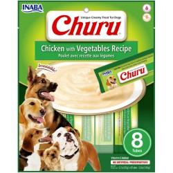 INABA CHURU DOG przysmak IDEALNY NA LODY dla psa Kurczak Warzywa 8 tubek po 20g
