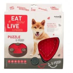 Miska dla psa spowalniająca jedzenie Eat Slow Live Longer Puzzle and Feed Red