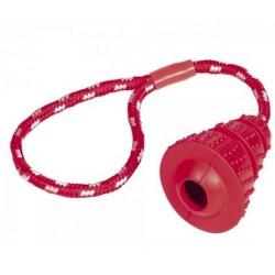 NOBBY Zabawka na przysmaki Cona 8cm z liną 28cm czerwona