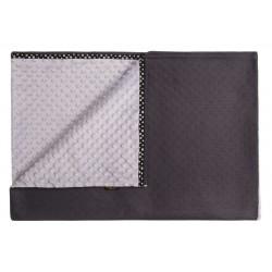 JoQu Koc - Mata Blanket Minky czarno-szary L