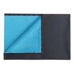 JoQu Koc - Mata Blanket Minky czarno-niebieski L